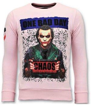 Local Fanatic Men Printed Sweater Joker - Pink