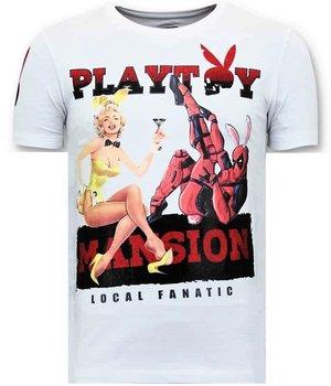 Local Fanatic Men Printed T Shirt Playtoy Mansion  - White