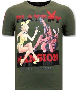 Local Fanatic Men Printed T Shirt Playtoy Mansion  - Green