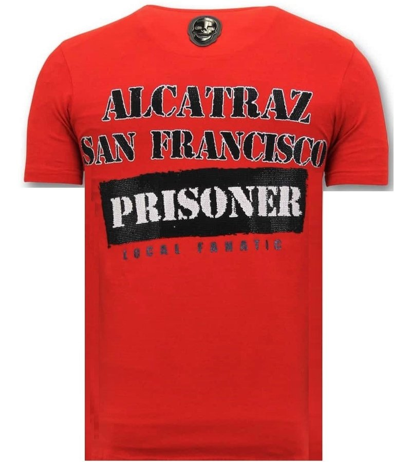 Local Fanatic Alcatraz Prisoner Printed T Shirt Men - Red