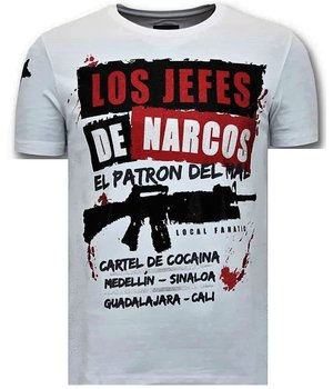 Local Fanatic Los Jefes The Narcos Printed T Shirt - White