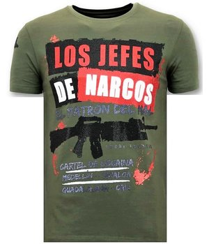 Local Fanatic Los Jefes The Narcos Printed T Shirt - Green