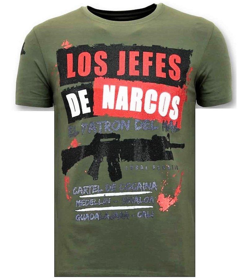 Local Fanatic Los Jefes The Narcos Printed T Shirt - Green