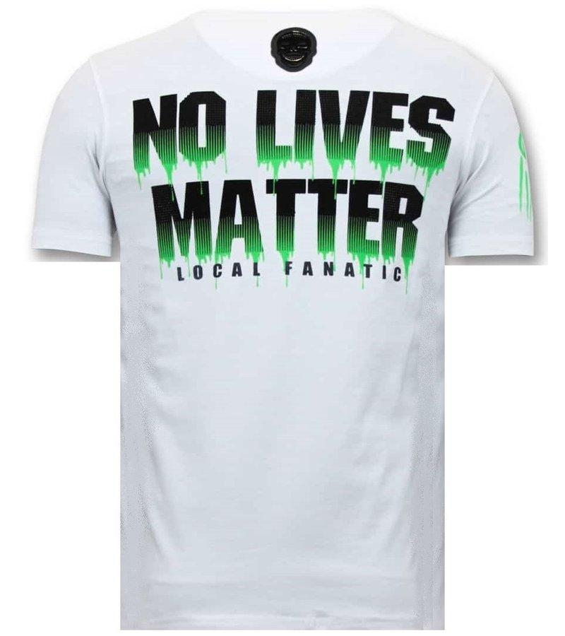 Local Fanatic Predator Hunter Printed Men T Shirt - White