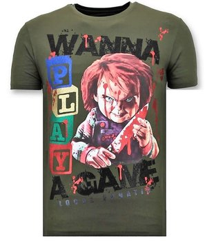 Local Fanatic Chucky Childs Play Print  Men T Shirt - Green