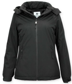 Beluomo Short Ladies Winter Coat - Slim Fit With Hood - Black