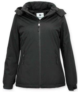 Beluomo Short Ladies Winter Coat  With Hood - Black