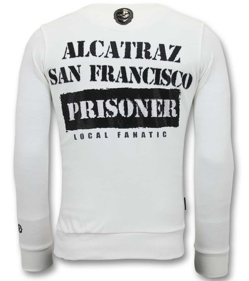 Local Fanatic  Alcatraz Prisoner Men Sweatshirt - White