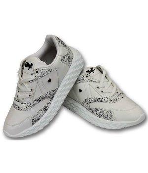 Cash Money Paint Splatter Shoes - CMS181 - White