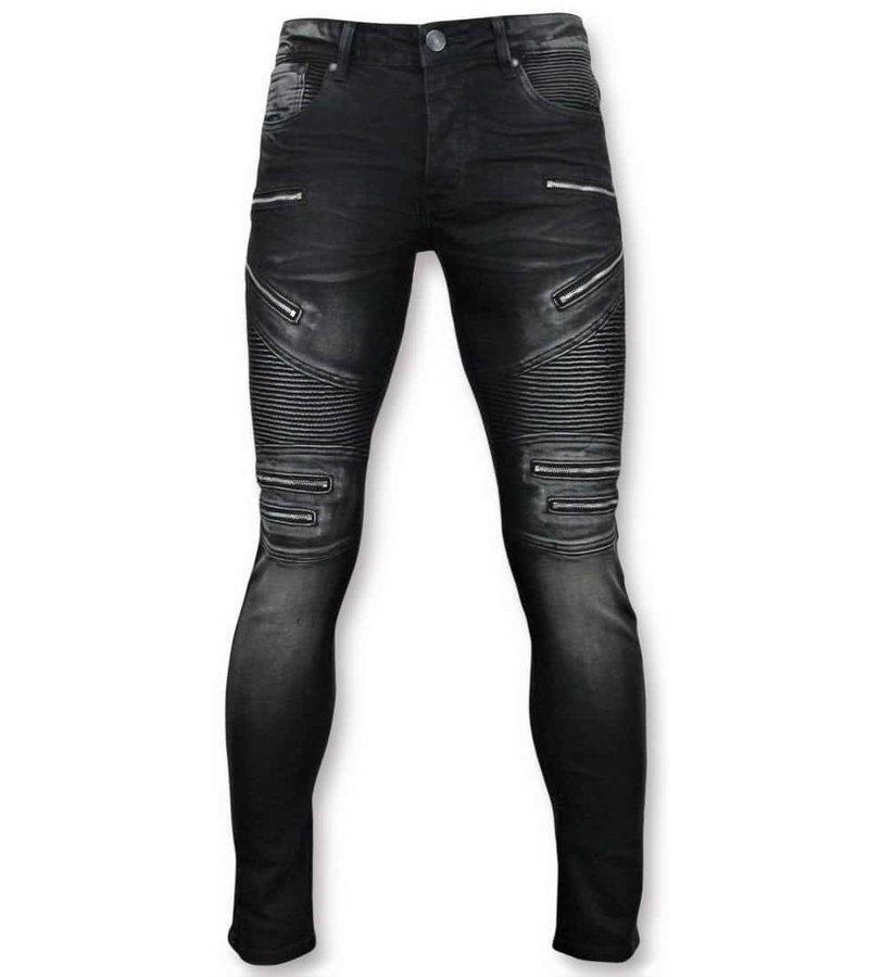 True Rise Biker Jeans With  Zip - 3025-2 - Black