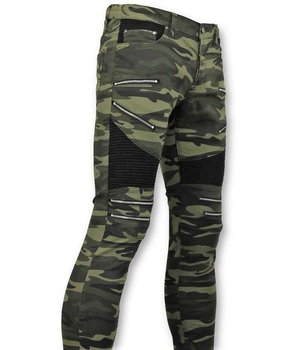 True Rise Army Style Men's Biker Jeans Zip - 3025-18 - Green