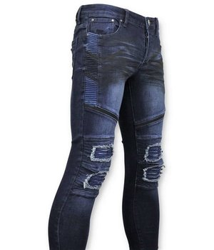 True Rise Men Biker Jeans Ripped - 3027 - Blue
