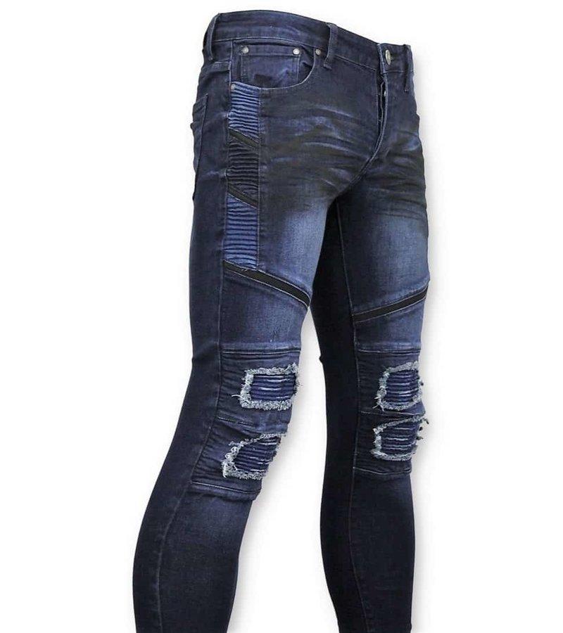 True Rise Men Biker Jeans Ripped - 3027 - Blue