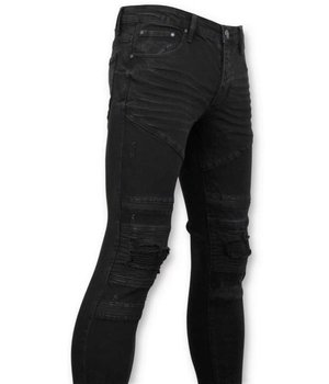 True Rise Ripped Biker Jeans - 3029-2 - Black