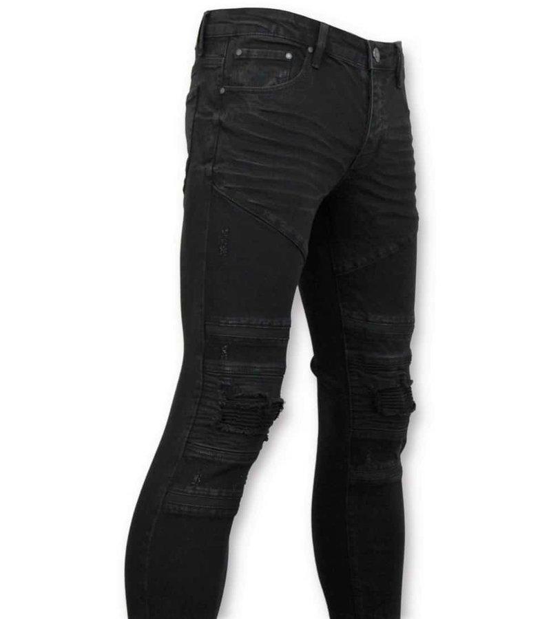 True Rise Ripped Biker Jeans - 3029-2 - Black