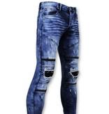 True Rise Biker Ripped  Jeans Men - 3029-15 - Blue