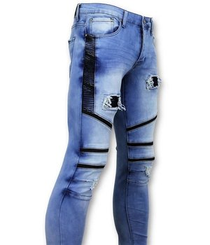 True Rise Ripped Biker Jeans - 3028-16 - Blue