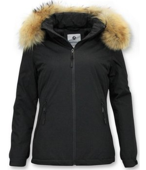 Beluomo Ladies Short winter jacket - Slim Fit - With fur collar - Black