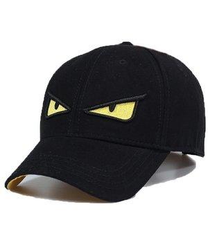 Enos Baseball Cap Men - Embroidered Yellow Eye - Black