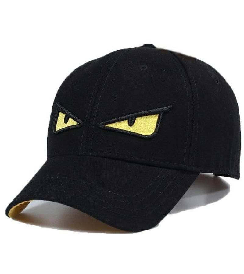 Enos Baseball Cap Men - Embroidered Yellow Eye - Black