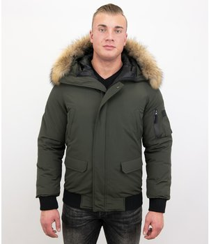 Enos Short Men's Winter Jacket Army - With Fur Collar - Green