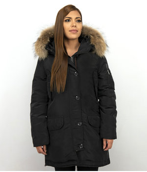 Macleria Long Parka WinterJacket Ladies - With Fur Collar Women Coat - Black