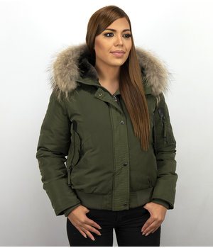 Macleria Fur Collar Women Winter Coat Short - Green