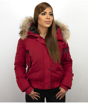 Macleria Women Short Winter Jacket - Coat With Large Fur Collar - Red