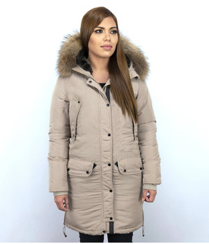 Macleria Long Winter Jacket Ladies Parka - Beige