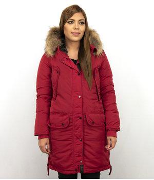Macleria Long Winter Jacket Women - Parka Ladies  - Red