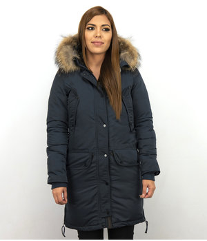 Macleria Long Winter Jacket Ladies Parka - Blue