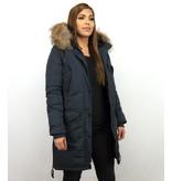 Macleria Long Winter Jacket Women - Ladies Parka - Blue
