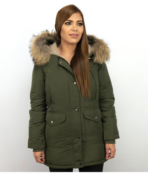 Macleria Fur Collar Coat - Women's Winter Coat Long - Parka - Khaki