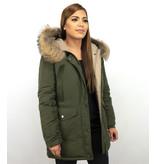 Macleria Fur Collar Coat - Women's Winter Coat Long - Parka - Khaki