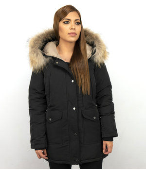 Macleria Fur Collar Coat - Women's Winter Coat Long - Parka - Black