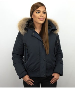 Macleria Fur Collar Coat - Women's Winter Coat Short - Blue