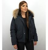 Macleria Fur Collar Coat - Women's Winter Coat Short - Blue