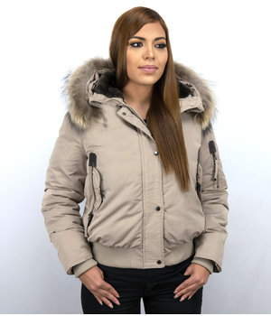 Macleria Fur Collar Coat - Women's Winter Coat Short - Beige