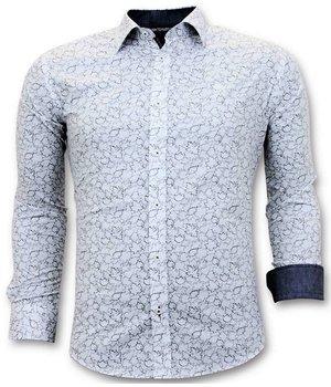 Tony Backer Men Exclusive Italian Shirt - Slim Fit Luxurious Print - 3048 - White
