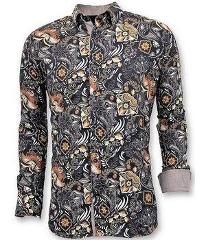 Tony Backer Luxury Printed Collar Shirts Men - 3050 - Black
