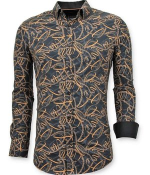 Tony Backer Luxury Printed Collar Shirts - 3054 - Black