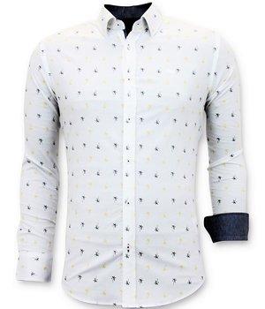 Tony Backer Italian Men's Shirts - Slim Fit Digital Print - 3047 - White