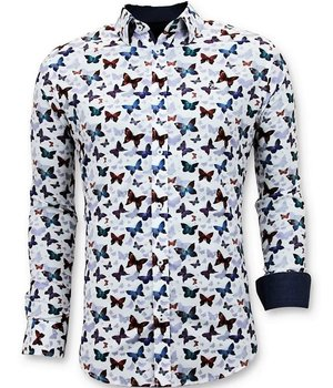 Tony Backer Butterfly Printed Collar Shirt - 3057 - White