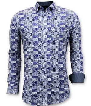 Tony Backer Luxury Trendy Men Shirts - Digital Printing - 3055 - Blue