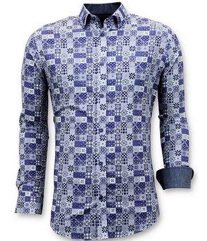 Tony Backer Motif Print Collar Shirts - 3055 - Blue