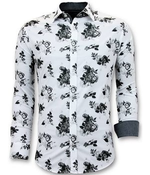 Tony Backer Flowers Print Men's Collar Shirts  - 3059 - White