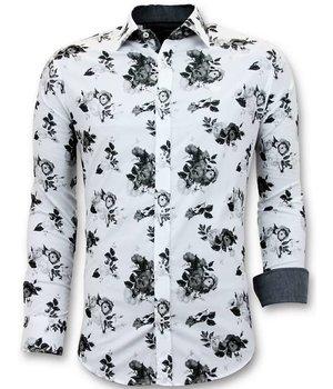 Tony Backer Luxury Men's Shirts Floral Print - Exclusive Shirts - 3059 - White
