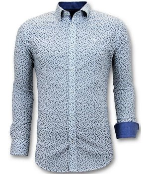 Tony Backer Bike Printed Men's Collar Shirts - 3061 - Blue