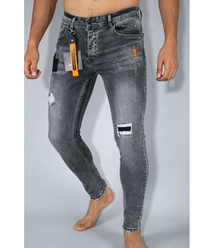 True Rise Skinny Fit Ripped Men Jeans - A13B - Gray