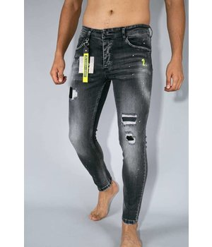 True Rise Skinny Fit Ripped Jeans -  A13D - Gray